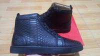 Wholesale Fish Furs - High Top Red Bottom Sneaker snake print Black Casual shoes fish grain Luxury Flats Men and Women Designer Sneakers Sheepskin Genuine Leather