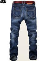 Wholesale Jeans Cheap Price - Wholesale-2016 new Large Plus Size 42 44 46 48 Blue Elastic Men Jeans Slim Fit Straight Denim Pants cheap price Men's Jean Skinny Homme