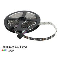 Wholesale Led Waterproof Reel - Black PCB 5050 SMD 60LEDs m Non-waterproof IP20 RGB LED Strip Light DC12V 5M Reel Fita Flexible Ribbon