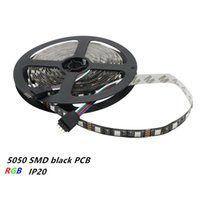 tira de carrete al por mayor-Luz PCB 5050 SMD 60LEDs / m no impermeable IP20 RGB LED Strip Light DC12V 5M / Reel Fita Flexible Ribbon