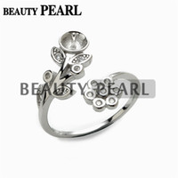 Wholesale Silver Ring Made - 5 Pieces Pearl Jewellery Findings Ring Semi Mount 925 Sterling Silver Floral DIY Making Ring Blank