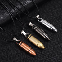 Wholesale Titanium Stainless Jewelry - Men Titanium Steel Necklaces Bullet Pendant Leather Chain Necklace Women Jewelry