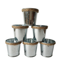 Wholesale green tin buckets - Silvery Meat plant pot tin Pail Succulent Planter Mini flower Buckets with Hemp rope Tin Box Galvanized Planters Mini Succulent Planters