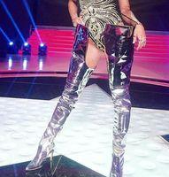 ingrosso arancione su stivali al ginocchio-New Designer Rihanna Moda Donna Stivali a vita alta Stivali a punta gladiatore lunghi Rosa Viola verde arancio Chaussure Femme Sopra il ginocchio