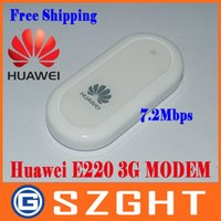 Wholesale Hsdpa Tablets - Wholesale- Freeshipping Cheap UNLOCKED HUAWEI E220 3G HSDPA USB MODEM 7.2Mbps wireless network card ,support google android tablet PC