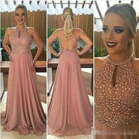 Wholesale Two Part Short Dress - Long Formal Evening Dresses High Neck Crystals Beading Sleeveless Keyhole Back Pink Chiffon 2017 Formal Pageant Part Dress Gowns for Prom