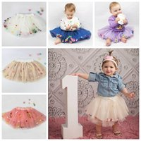 Wholesale Birthday Pettiskirt - 2017 girl tulle skirts fluffy baby tutu skirt rainbow color pom pom tutu skirt ballet tutus for girls birthday party pettiskirt ruffle cute
