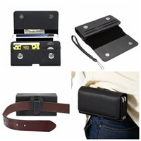 Wholesale Two Wallet Iphone - Horizontal Hip Holster Leather For Iphone 7 Plus 6 6S SE S7 Edge S6 Sony Z5 XZ XA X Z4 Universal+Two Phone Pouch+6.0Inch Card Slot Clip Belt