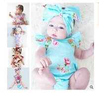 Wholesale Wholesale Baby Ruffle Diaper Cover - new INS hot 2017 Baby girl kids toddler Summer 2piece set outfits Rose floral Romper Onesies Diaper Covers Jumpsuits Lace Ruffles + Bow Head