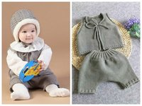 Wholesale Baby Knitting Vests - 2017 spring autumn baby clothes handmade woolen crochet boys clothing sets toddler girls boutique outfits baby vest + knitted short pants