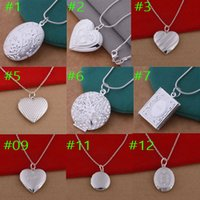 Wholesale Stainless Steel Rectangle Pendant - wholesale 925 sterling silver filled heart round rectangle pendant necklace 18 inch chain necklaces fashion jewelry silver plated locket