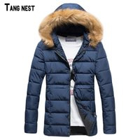 Wholesale Korean Fashion Hooded Parka - Wholesale- TANGNEST Men Warm Coats 2017 New Arrival Men's Thicken Solid Causal Winter Coat Male Fashion Korean Style Hooded Parkas MWM1460