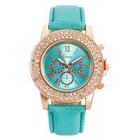 Wholesale Double Diamond Watches - Fashion Geneva Three eyes luxury watch Double diamond Quartz watches Ladies leather wristwatch golden dial fashion casual wrist watches