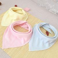 Wholesale Solid Color Baby Bibs - Wholesale- Hot Sale Baby Double Layers Cotton Bandana Bibs Soft Comfy Burp Cloths Toddler Dribble Solid Color Burp Cloths Baberos