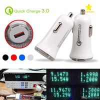 Wholesale 12v Usb 3a - QC3.0 Fast Car Charger Adapter High Quality LED 5V 3A USB Quick Charger 9V 2A 12V 1.5A Quick Car Charger