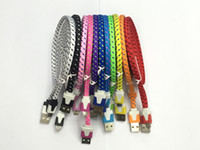 iphone flach großhandel-10FT 6ft 3FT Noodle Flat Braid Ladekabel 10 Farbe Sync Fabric Micro Wire USB Daten Woven Kabel Linie Samsung S6 S7 EDGE