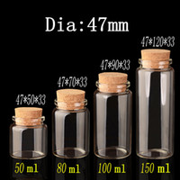 Wholesale Vial Diy - Clear Glass Jars Bottles with Cork Stopper - 50ml 80ml 100ml 150ml without lead Wide Mouth foodstuff Storage Jars & DIY Craft Vials bottle,