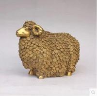 Wholesale Wang Art - Pure copper sheep ornaments open copper Shengshou sheep handicrafts Lucky money sheep home feng shui display Wang Yun large