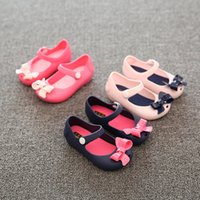 Wholesale Wholesale Shoes For Little Girls - Wholesale-2017 New Jelly Plain Shoes For Baby Summer Sandals bow mini minised Little Children Toddler Kids Size 6color