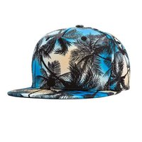 Wholesale nice materials - Unisex Men Hawaii Tree Print Flat Bill Hat High Quality Cotton Material Manufacturing Process Nice Stitching Vintage Adjustable Baseball Cap