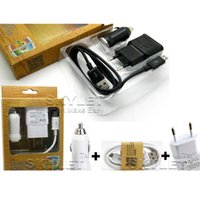Wholesale Charger Set Kit Micro Usb - Wall Charger Home Plug US EU version plug 3 in 1 2 in 1 set wall charger Micro usb sync cable car charger full sets kits with retail box
