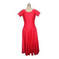 Wholesale Long Dance Skirts For Girls - Nylon Lycra Short Sleeve Leotard Dress with Long Skirt for Girls and Ladies Dance Performance Costume