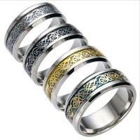 Wholesale Titanium 14k Gold Inlay Wholesale - Titanium Steel Jewelry 2017 New Fashion Gold Plated Stainless Steel Rings Silver Inlay Dragon Piece EC-107