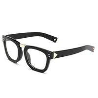 mercekler d toptan satış-D. King Vintage Boynuz Çerçeveli Geniş Arms Şeffaf Lens Kare Gözlük Çerçeve Gözlükler Yansıma Önleyici Kaliteli Gözlük Kadın Erkek