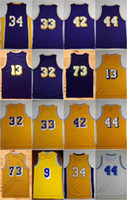 Wholesale Brown Jerry - Throwback Basketball Jerseys 32 Magic Johnson 33 Kareem Abdul-Jabbar 42 Artest Worthy 44 Jerry West O'Neal Chamberlain Rodman Nick Van Exel