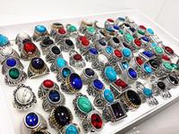 anillos de plata surtidos al por mayor-al por mayor lotes a granel surtidos estilos de mezcla de los hombres de las mujeres de plata antigua turquesa vintage anillos de piedra a estrenar