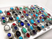 antike türkisfarbene ringe für frauen großhandel-Großhandelsmassenlose sortierte Mischungsartfrauen-Männer antike silberne Weinlese-Türkis-Steinringe nagelneu