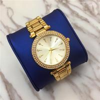elmas yüz saatleri toptan satış-Toptan sıcak satış Kadınlar İzle Lüks Tam Elmas Kabuk Yüz altın Elbise İzle Lady Kuvars Saat Takı toka parlaklık Elmas Ücretsiz kargo