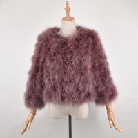 Wholesale Turkey Feather Coats - New Arrival Female top selling fashion Real Ostrich Fur Coat Women handmade nature Turkey fur jacket