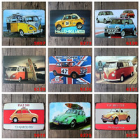 Wholesale Cooper Antique - VW Mini Cooper Flat 500 tin sign Wall Decor Vintage Craft Art Iron Painting Tin Poster Cafe Shop Bar Club Home Decorate