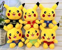 Wholesale Plush Bats - 6 Style 7.2 Inch poke go Plush dolls toys EMS 18cm kids cartoon Pikachu Cosplay Captain America Iron Man Bat toy B