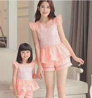 Wholesale Grils Sets - Mother and daughter colthings grils falbala organza lace jacquard princess tops + hollow out short pants 2pcs sets family outfit T0703