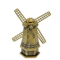 ingrosso articoli antichi-Bronzo antico olandese modello di mulino a vento in metallo figurine manufatti per l'arredamento Holland Windmill Home Decor Ornamenti LZ0037