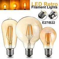 edison kafes kolye lambası toptan satış-Toptan-B22 E27 Vintage Edison Ampul LED Işık Filament Ampul 4 W G95 / ST58 / A60 Küre Kafes Sarkıt Ampuller 220 V-240 V 400LM