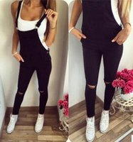 Wholesale 2017 Fashion women bandage sexy spring autumn jumpsuit black casual skinny overalls hole button pocket pencil slim femme romper