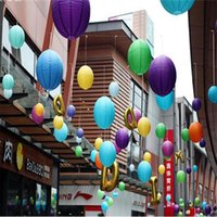 Wholesale Paper For Chinese Decorations - 5pcs Lot 8''(20cm) Round Chinese Lantern multicolor Paper Lanterns For Wedding Party Decorations L002