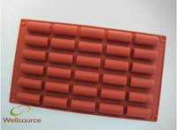 Wholesale Cylinder Mold - Non Stick - Mini Buche - 30 forms Silicone Easy Chocolate Mold, Mini Buche Half Cylinders Eclair Silicone Mold