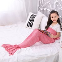 Wholesale Mermaid Crochet For Babies - 90*50cm Baby Mermaid Tail Blanket Handmade Wave Crochet Knitting Blankets Seasons Warm Soft Living Room Sofa TV Sleeping Bag for Kids Teens