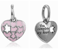 Wholesale Heart Jigsaw Necklace - Wholesale 20pcs   lot Fashion Pink Enamel jigsaws Heart Design Alloy metal Dangle DIY Charms fit European Bracelet & Necklace Low Price