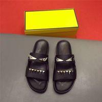 Wholesale Designer Branded Shoes - 2017 new brand designer high-end custom metal cowhide fashion eye Little monster men slipper comfortable tlat casual trend shoes flip flops