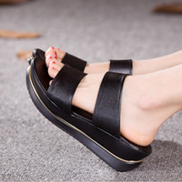 Wholesale Pierced Platform - Wholesale-New Casual Genuine Leather Medium Heel Women Sandals Wedges Trifle Summer Slippers Comfortable Pierced Platform Slides Big Size