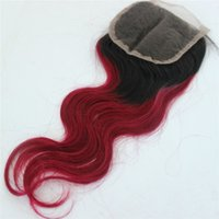 Wholesale Hair Color Pieces Black Red - ombre 1b red color lace closure piece body wave two tone black root red brazilian human hair lace closure