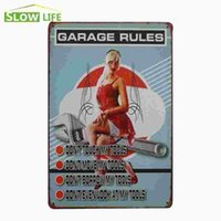 """Wholesale Girl Rules - Garage Rules Hot Girl Sit On Wrench Vintage Tin Sign 8""""x12"""" AD Metal Plate Bar Pub Garage Wall Decor Tin Plaque Metal Art Poster 20170408#"""