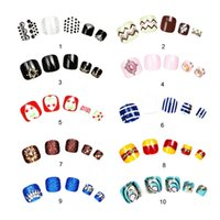 Wholesale 3d Pre Glued - Wholesale- 2016 Summer False Toe Nails 3D Luxury Fake Toe Nails Crystal Acrylic Toe Nails Artificial Fashion Pre-design Free Glue +Toe Ring