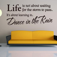Wholesale Dancing Rain Sticker - Life is not about Waiting Quote Wall Sticker Dance In The Rain Removable adesivo de parede Wall Sticker Home Decoration Free Shipping