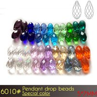 A6010 100pcs / set Briolette Pendant Beads Beads 5x7mm Cores especiais Pendant Beads For Jewelry Making Glass